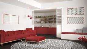 Sala de visitas minimalista com sofá, tapete redondo grande e cozinha mim Fotos de Stock
