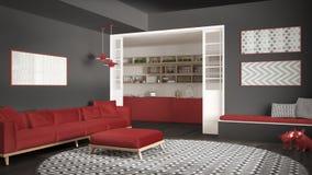 Sala de visitas minimalista com sofá, tapete redondo grande e cozinha mim Imagens de Stock