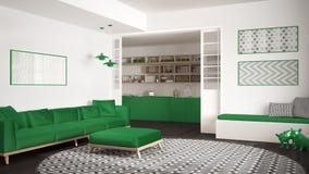 Sala de visitas minimalista com sofá, tapete redondo grande e cozinha mim Imagens de Stock Royalty Free