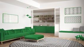 Sala de visitas minimalista com sofá, tapete redondo grande e cozinha mim Fotografia de Stock