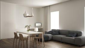 Sala de visitas minimalista, design de interiores, espa?o do trabalho dom?stico, sof? cinzento moderno, mesa de jantar com cadeir fotos de stock royalty free