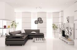 A sala de visitas moderna 3d interior rende Foto de Stock