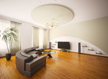A sala de visitas moderna 3d interior rende Imagem de Stock
