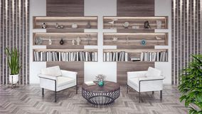 Sala de visitas moderna com estante e elementos de madeira 3d para render ilustração do vetor