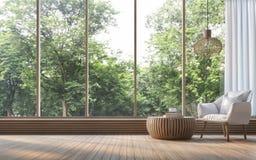 Sala de visitas moderna com imagem da rendição da opinião 3d da natureza Fotos de Stock Royalty Free