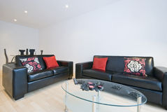 Sala de visitas moderna com os dois sofás de couro Fotos de Stock Royalty Free