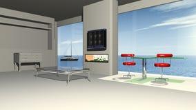 Sala de visitas moderna com uma opinião do panorama ao mar Fotografia de Stock Royalty Free