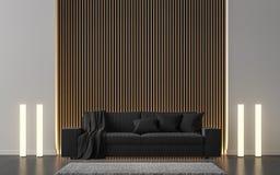 A sala de visitas moderna decora a parede com imagem de madeira da rendição da estrutura 3d Ilustração Stock