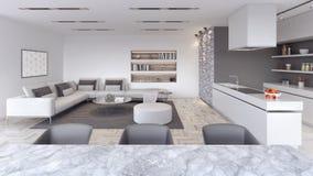 A sala de visitas moderna, design de interiores com cozinha 3D rende ilustração royalty free