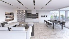 A sala de visitas moderna, design de interiores com cozinha 3D rende ilustração stock
