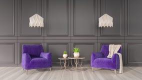 A sala de visitas moderna, design de interiores 3D rende Ilustração Royalty Free