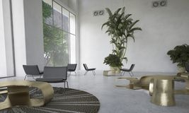 Sala de visitas moderna do desenhista com houseplants Foto de Stock