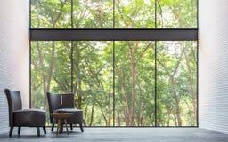 Sala de visitas moderna do sótão com imagem da rendição da opinião 3d da natureza Fotos de Stock
