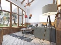 Sala de visitas moderna em um estilo do sótão Foto de Stock