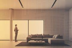 Sala de visitas panorâmico branca, sofá tonificado Foto de Stock Royalty Free