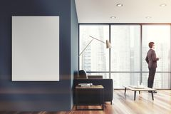Sala de visitas panorâmico cinzenta, cartaz tonificado Imagem de Stock Royalty Free