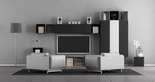 Sala de visitas preto e branco com aparelho de televisão fotografia de stock royalty free