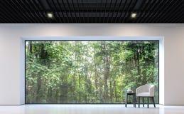 Sala de visitas preto e branco moderna com imagem da rendição da opinião 3d da floresta Fotos de Stock