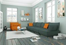 Sala de visitas skandinavian moderna do design de interiores no estilo branco Imagens de Stock Royalty Free