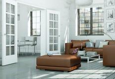 Sala de visitas skandinavian moderna do design de interiores no estilo branco Imagens de Stock
