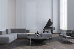 Sala de visitas, sofá e piano brancos Imagem de Stock