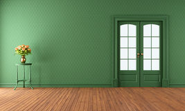 Sala de visitas verde vazia com porta deslizante Fotografia de Stock Royalty Free