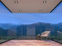 Sala de visitas de vidro da casa da cena da noite com imagem da rendição do Mountain View 3d Fotografia de Stock Royalty Free