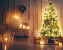Sala decorada para o Natal Foto de Stock Royalty Free