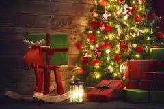 Sala decorada para o Natal Foto de Stock