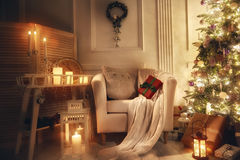 Sala decorada para o Natal Imagens de Stock Royalty Free