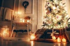 Sala decorada para o Natal Imagem de Stock Royalty Free