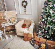 Sala decorada para o Natal Imagem de Stock