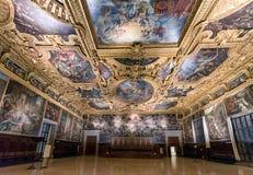 Sala del Maggior Consiglio al palazzo del ` s del doge, Venezia immagini stock libere da diritti