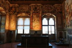 Sala dell`Udienza in the Palazzo Vecchio, Florence, Italy. Stock Image