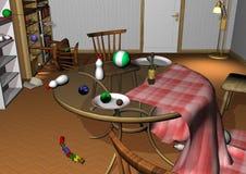Sala desarrumado com brinquedos e garrafas de bebê Fotografia de Stock