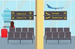 Sala di attesa al sedile dell'aeroporto, un passeggero della donna con una valigia, segnali di informazione Decollo piano e torre illustrazione di stock