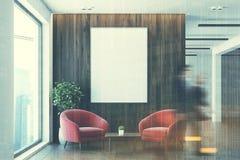 Sala di attesa bianca e di legno dell'ufficio, doppia Immagine Stock Libera da Diritti