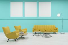 Sala di attesa con le pareti ed i manifesti verdi dell'albero Fotografia Stock