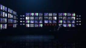 Sala di controllo di ultime notizie stock footage