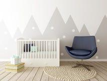 Sala do bebê, interior do berçário Imagens de Stock Royalty Free