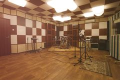 Sala do ensaio - interior do estúdio de gravação fotos de stock royalty free