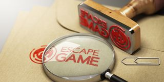 Sala do escape, conceito do jogo da aventura Foto de Stock Royalty Free
