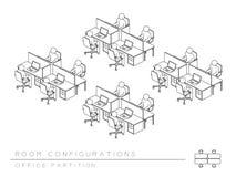 A sala do escritório setup estilo da separação da configuração da disposição o meio, perspectiva 3d isométrica com ilustração da  ilustração royalty free