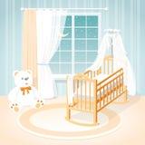 Sala do ` s das crianças com uma janela, um berço e os brinquedos Imagem de Stock Royalty Free