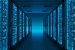 Sala do server no datacenter Fotos de Stock