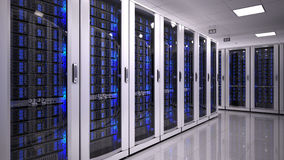 Sala do server no datacenter Imagens de Stock Royalty Free