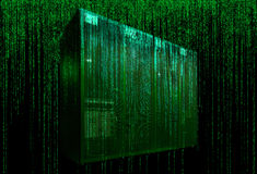 Sala do servidor com código da matriz Imagem de Stock