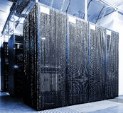 Sala do servidor com código da matriz Fotografia de Stock Royalty Free