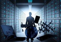 sala do servidor de rede 3d como o conceito Fotos de Stock