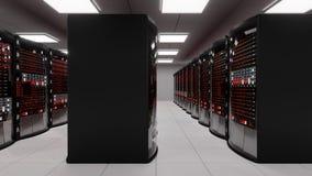 Sala do servidor, servidores da cremalheira com erro de servidor ilustração stock
